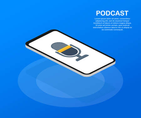Podcast icon, vector symbol in flat isometric style isolated on color background. Vector stock illustration. Banque d'images - 113632190