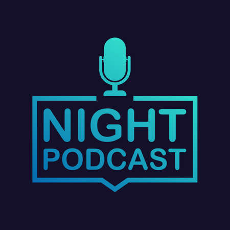 Night Podcast icon, vector symbol in flat isometric style isolated on color background. Vector stock illustration. Banque d'images - 113632347