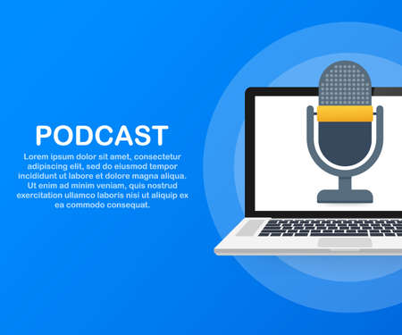 Podcast icon, vector symbol in flat isometric style isolated on color background. Vector stock illustration. Illustration