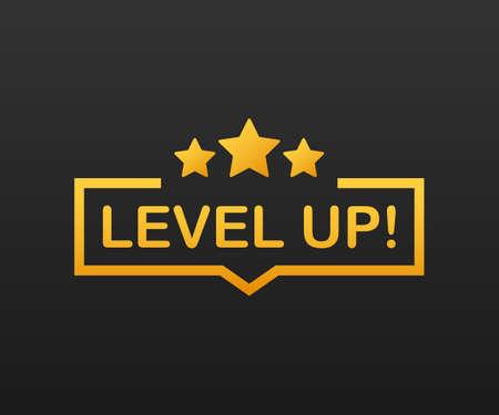 Bono de icono de juego. icono de subir de nivel, logotipo de nuevo nivel. Ilustración de stock vectorial.