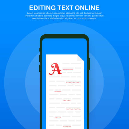Editable online document. Creative writing and storytelling, copywriting . Online education, distant learning concept. Vector stock illustration