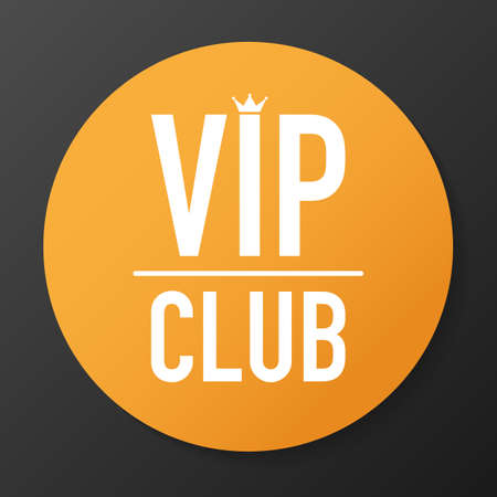 Vip club label on Black background. Vector stock illustration.