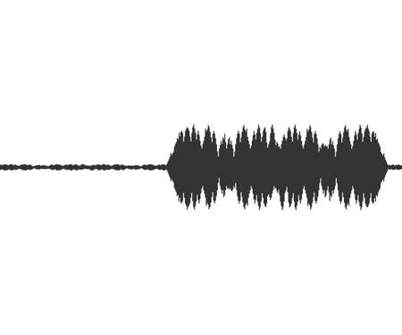 Black music sound waves on white background. Audio technology, musical pulse. Vector stock illustration.