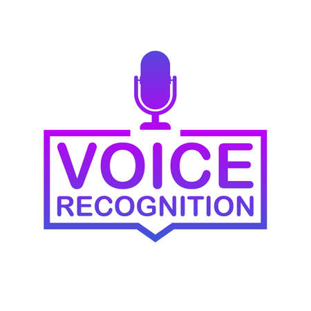 Voice recognition. Badge, icon, stamp, logo. Vector stock illustration.