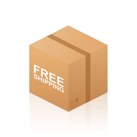 Free Shipping Cardboard Box on white background. Vector stock illustration.