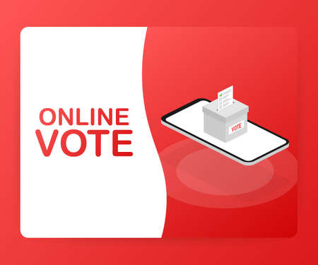 Flat isometric vector concept voting online, e-voting, election internet system. Vector stock illustration. Illustration