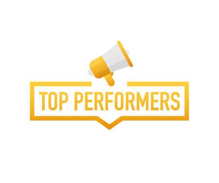 Des grandes performances. Insigne, icône, timbre, logo. Illustration vectorielle de stock. Logo
