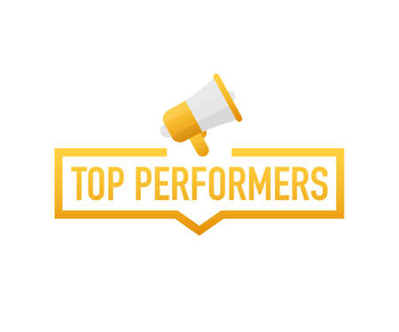 Top Performers. Badge, icon, stamp, logo. Vector stock illustration. Logo