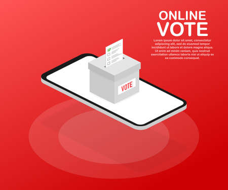 Flat isometric vector concept voting online, e-voting, election internet system. Vector stock illustration.