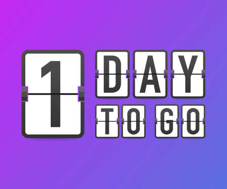 One day to go. Time icon. Vector stock illustration