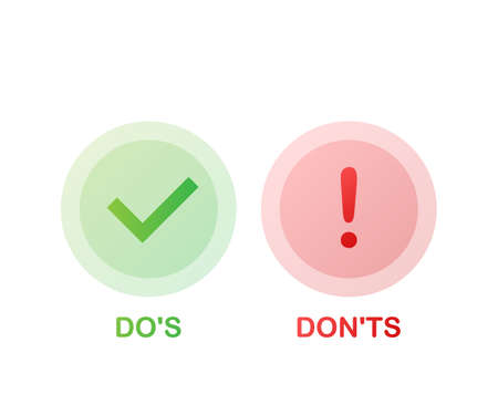 Dos and Donts like thumbs up or down. flat simple thumb up symbol minimal round logotype element set graphic design isolated on white. Vector stock illustration. Illusztráció