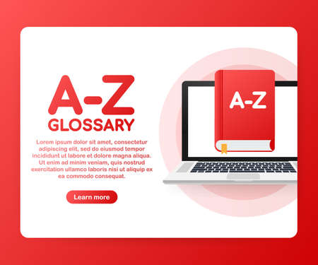 Concept A-Z glossary book for web page, banner, social media. Vector stock illustration