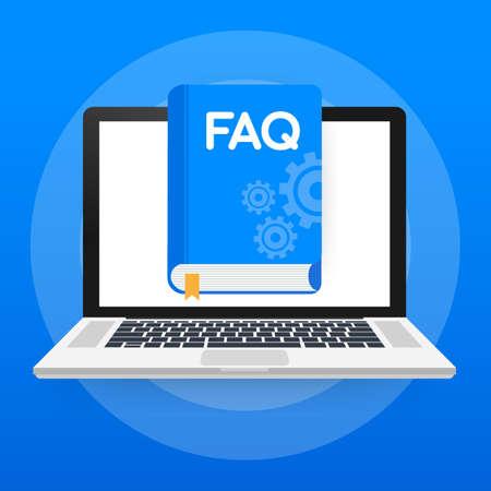 Concept FAQ book for web page, banner, social media. Vector stock illustration Ilustração Vetorial