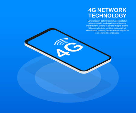 4G network wireless systems and internet. Communication network. Vector stock illustration.