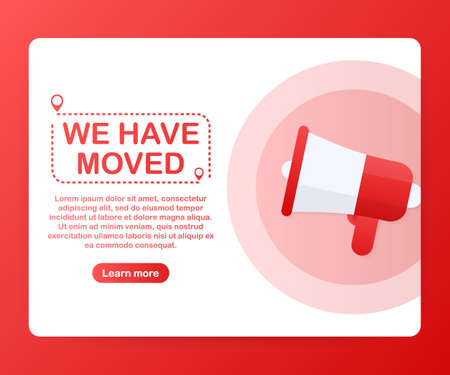 Nos hemos mudado. Signo de oficina en movimiento. Imagen de imágenes prediseñadas aislada sobre fondo rojo. Ilustración de stock vectorial. Ilustración de vector