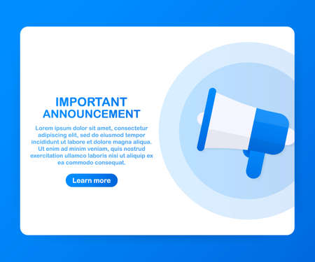 Megaphone Hand, business concept with text Important Announcement. Vector stock illustration
