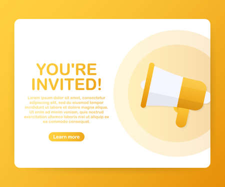 Megaphone Hand, business concept with text Youre invited. Vector stock illustration Illustration