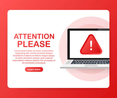 Attention please  banner or landing page template. Vector stock illustration.