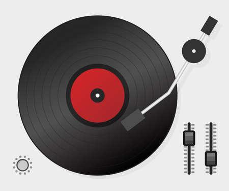 DJ, der Vinyl spielt. Ansicht von oben. DJ Interface Workspace-Mixer-Konsolen-Plattenspieler. Vektorgrafik auf Lager. Vektorgrafik