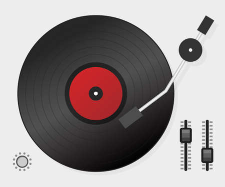 DJ playing vinyl. Top view. DJ Interface workspace mixer console turntables. Vector stock illustration.