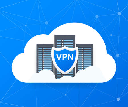 Secure VPN connection concept. Virtual private network connectivity overview.. Vector stock illustration.