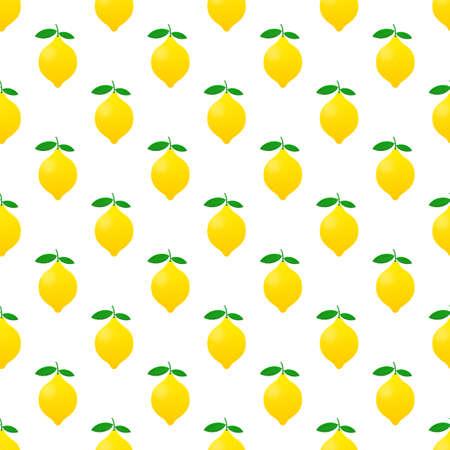 Lemon pattern. Yellow lemon vector stock illustration isolated on white background.