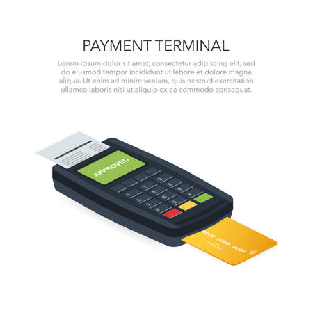 Isometric POS terminal confirms the payment by debit credit card. Vector stock illustration
