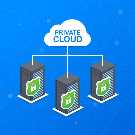VPC. Private cloud within a company icon of secure data store hand managing. Vector stock illustration.