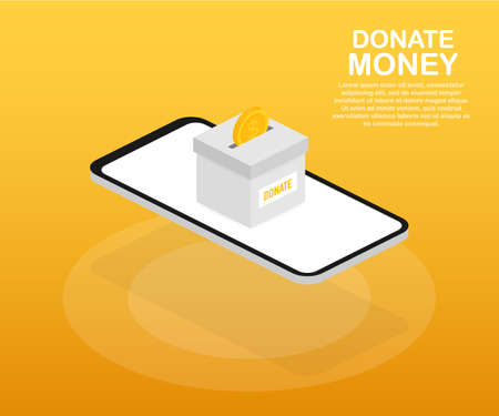 Charity, donation concept. Donate money with box Business, finance. Vector stock illustration. Standard-Bild - 115471068
