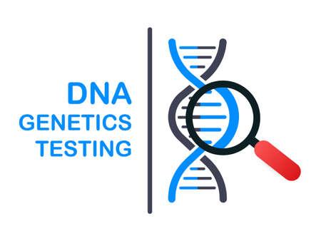 DNA-Tests, genetisches Diagnosekonzept. Gentechnik-Konzept. Kann für Webbanner verwendet werden. Desoxyribonukleinsäure. Vektorgrafik auf Lager.