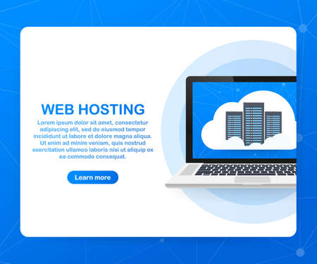Web hosting concept with cloud computing icons design. Vector stock illustration.  イラスト・ベクター素材