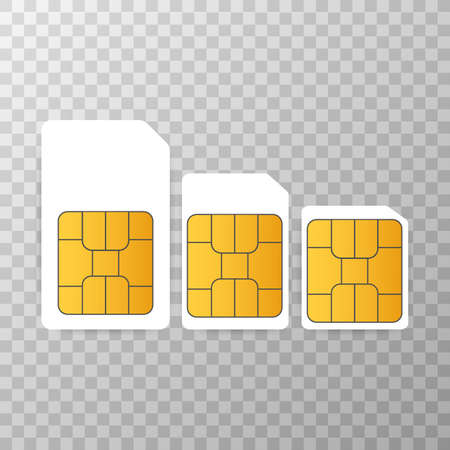 Vector Mobile Cellular Phone Sim Card Chip Isolated on Background. Vector stock illustration.