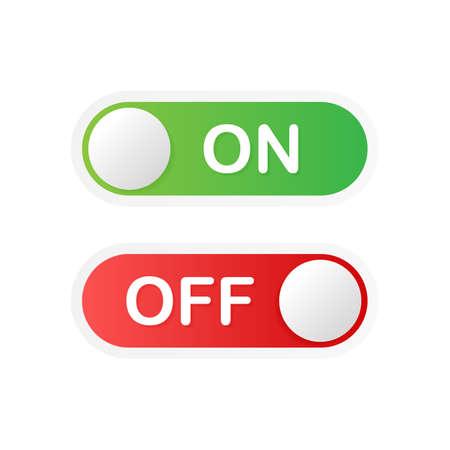 Icona piatta On e Off Attiva/disattiva il formato vettoriale del pulsante interruttore. Illustrazione di riserva di vettore.
