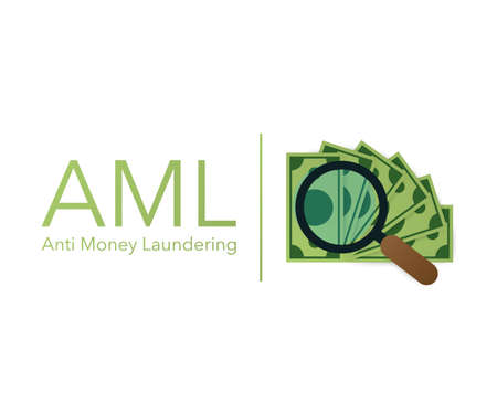 Anti money laundering AML cash coin credit transaction company. Vector stock illustration.