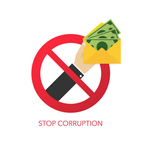 Stop corruption. Businessman refusing the offered bribe. Vector stock illustration