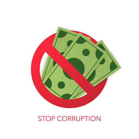 Stop corruption. Businessman refusing the offered bribe. Vector stock illustration Vector Illustration