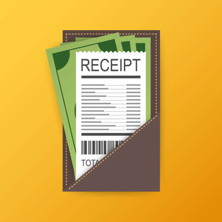 Leather folder for cash, coins and cashier check. Thanks for the service in the restaurant. Vector stock illustration Illustration
