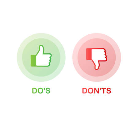 Do's and Don'ts like thumbs up or down. flat simple thumb up symbol minimal round logotype element set graphic design isolated on white. Vector stock illustration.