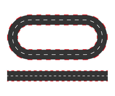 Rally races line track or road marking. Car or karting road racing vector background. Vector stock illustration. Illustration