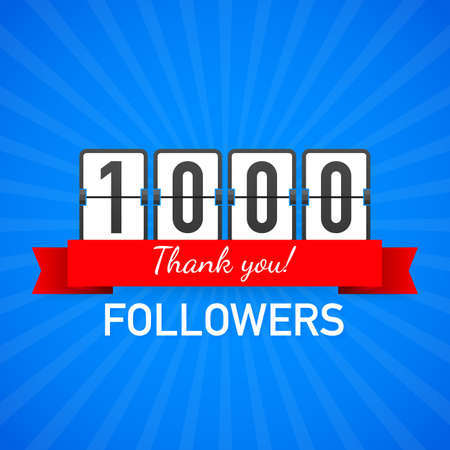 1000 followers, Thank You,  social sites post. Thank you followers congratulation card. Vector stock illustration. Иллюстрация