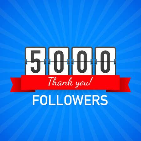 5000 followers, Thank You, social sites post. Thank you followers congratulation card. Vector stock illustration.