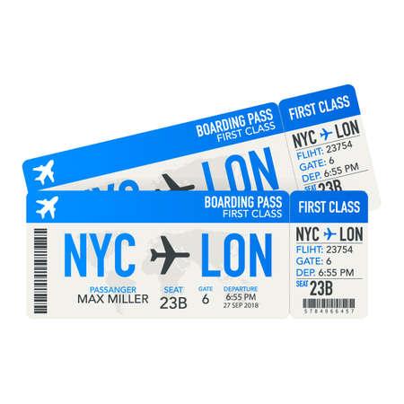 Billets d'avion ou carte d'embarquement à l'intérieur d'une enveloppe de service spéciale. Illustration vectorielle de stock.