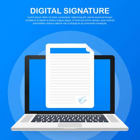 Digital signature. Web isometric contract signature infographic concept. Vector stock illustration. Vector Illustration