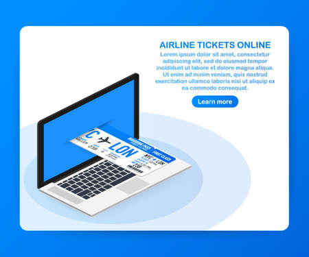 Airline tickets online. Buying or booking online ticket. Travel, business flights worldwide. Vector stock illustration