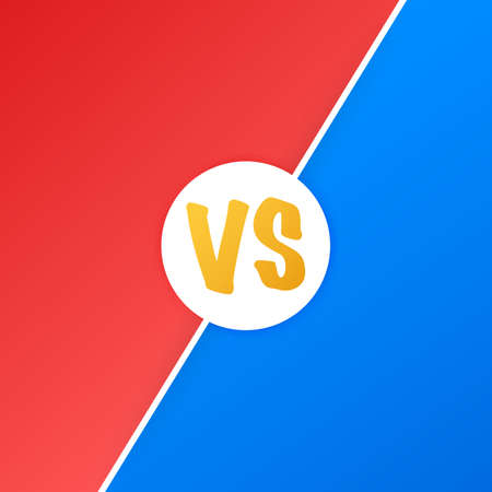 VS Versus Blue and red comic design. Battle banner match, vs letters competition confrontation. Vector stock illustration.