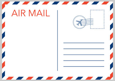 Air mail envelope with postal stamp isolated on white background. Vector stock illustration.