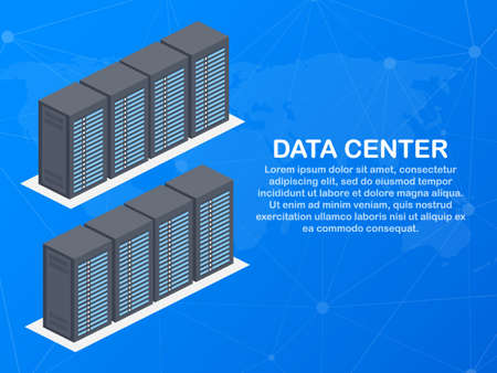 Data center. Mainframe service concept banner, server rack. Server room concept, data bank center. Vector stock illustration. Çizim