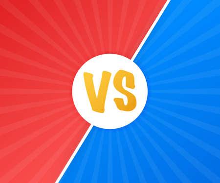 VS Versus Blue and red comic design. Battle banner match, vs letters competition confrontation. Vector stock illustration. Banque d'images - 116205139