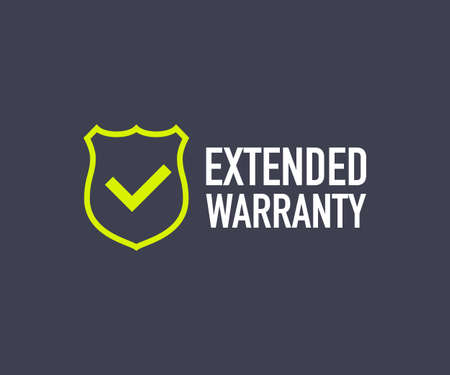 Extended warranty label or sticker. Badge, icon, stamp. Vector stock illustration.