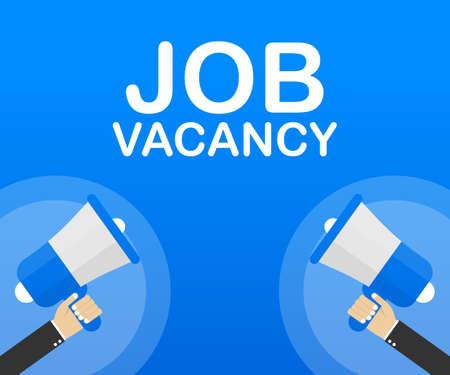 Hand Holding Megaphone with Job vacancy. Vector stock illustration.